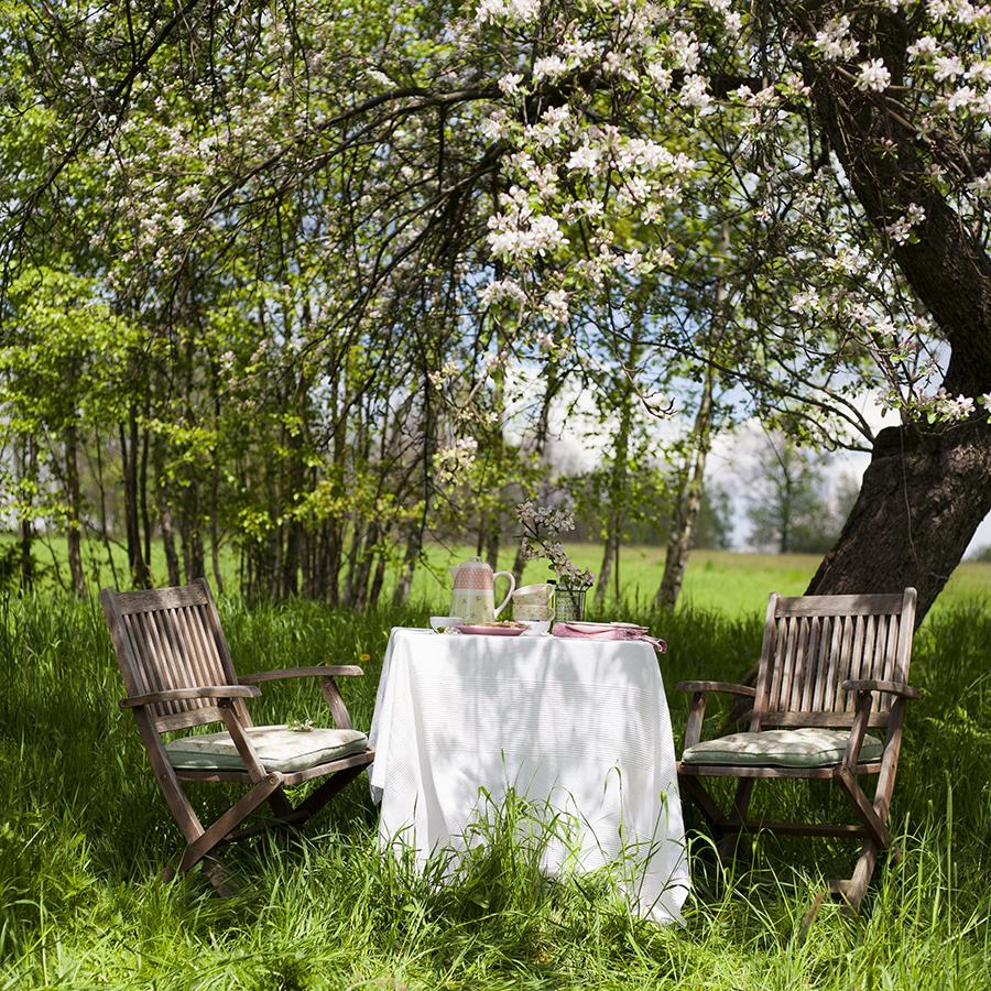 sniadanie w ogrodzie, naleśniki, śniadanie pod jabłoniami