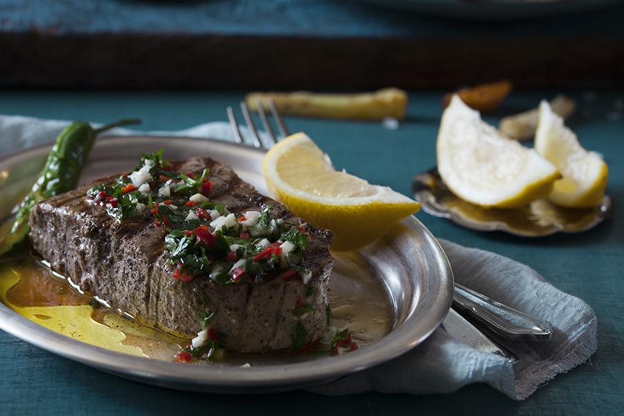 stek ztuńczyka, stek, tuńczyk, ryba