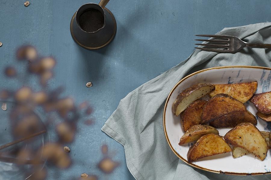 pieczone ziemniaki z oliwą truflową, wedgesy