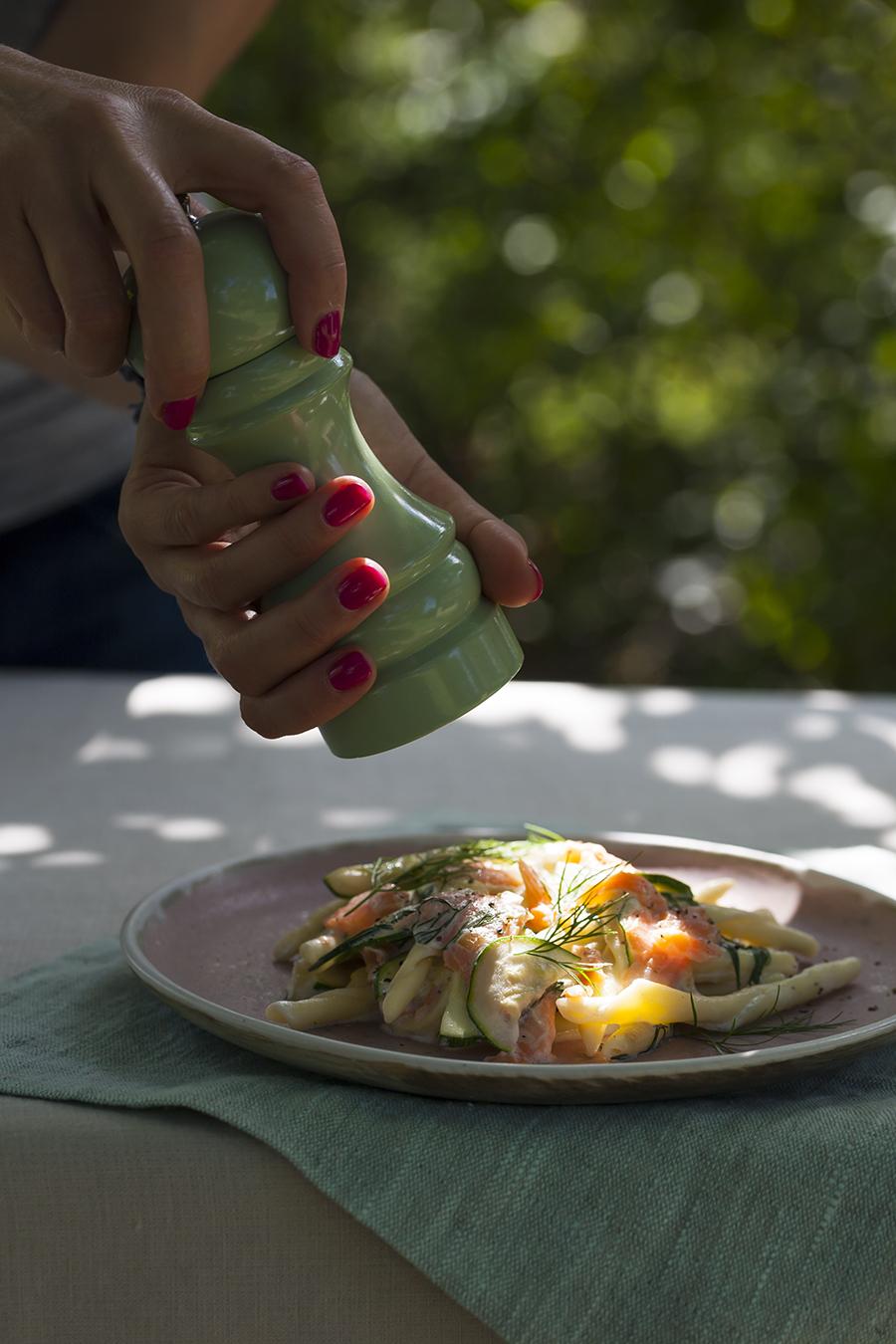 makaron złososiem icukinią, szybki obiad